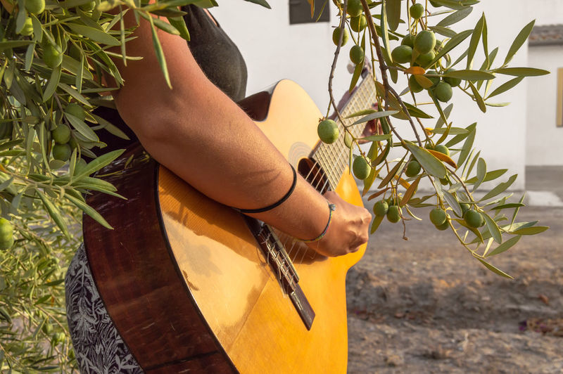 Midsection of woman playing guitar by plants