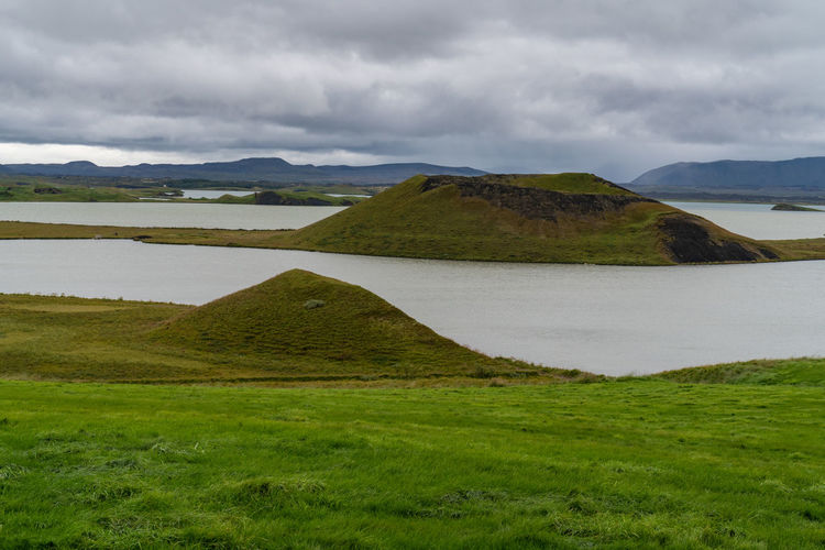 Iceland Beautifuliceland Beauty In Nature Cloud - Sky Crater Day Environment Grass Green Color Lake Land Landscape Mountain Nature No People Non-urban Scene Outdoors Plant Scenics - Nature Sky Tranquil Scene Tranquility Volcanic Crater Vulcanic Craters Water