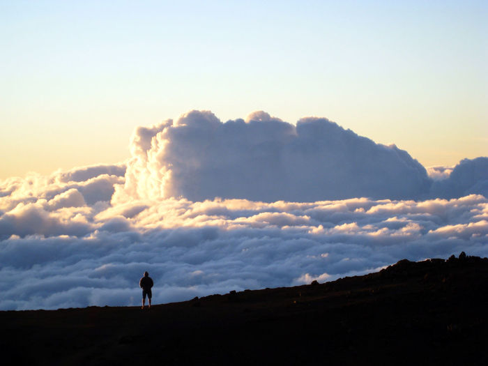 Haleakala Volcano peak above the clouds in Maui Hawaii Beauty In Nature Cloud - Sky Copy Space Environment Land Landscape Leisure Activity Looking At View Mountain Nature Non-urban Scene One Person Outdoors Scenics - Nature Silhouette Sky Standing Sunset Tranquil Scene Tranquility EyeEmNewHere