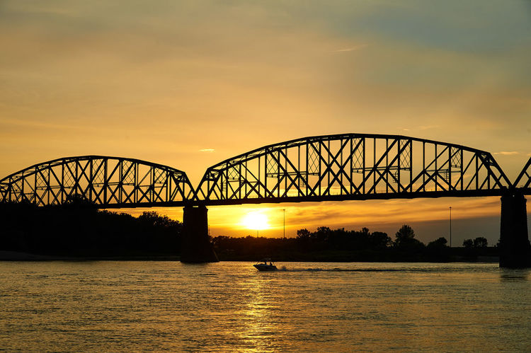 Lazy Evening on the Missouri Boardwalk Boat Bridge - Man Made Structure Dusk Outdoors River Sunset Water