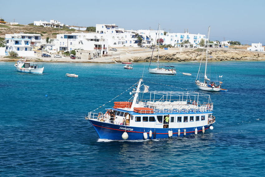 Architecture Blue Building Exterior Built Structure Clear Sky Cyclades Day Greece Koufonisia Koufonissi Mast Mode Of Transport Nature Nautical Vessel No People Outdoors Sea Sky Transportation Water Waterfront