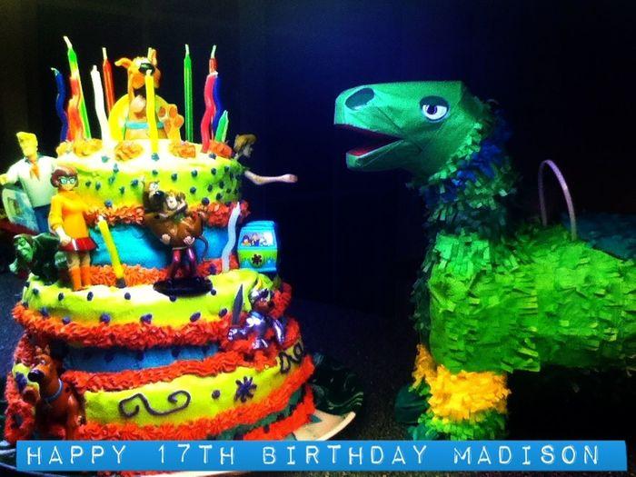 Happy 17th Birthday Madison Scoobydoo Scooby Doo Cake