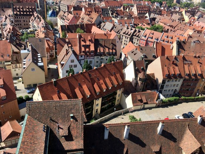 The characteristic red rooftops of the inner city of Nürnberg (Germany). Nürnberg Germany Midieval Town Rooftop Roof Architecture Built Structure Building City House Cityscape Day Outdoors TOWNSCAPE