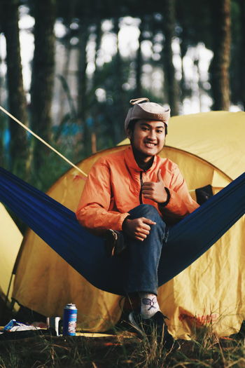 Camp.. One Man Only Only Men One Person Adults Only Smiling Leisure Activity Adult Full Length Cheerful People Enjoyment Happiness Mature Adult Front View Sport Fun Outdoors Men Exercising Day