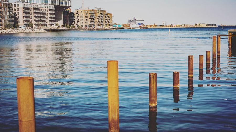 Water front - CPH Textured  Fujifilm Poles Copy Space Water Wood - Material Architecture Built Structure Post Sea Nature Building Exterior Land No People Pier Rippled Wooden Post Day Beach Clear Sky Waterfront Outdoors Sky