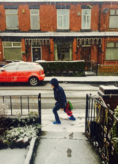 A shock this morning in Manchester! Snowing Snowy Days... Snow Covered Streets Child Skidding School Morning Bad Weather Cold