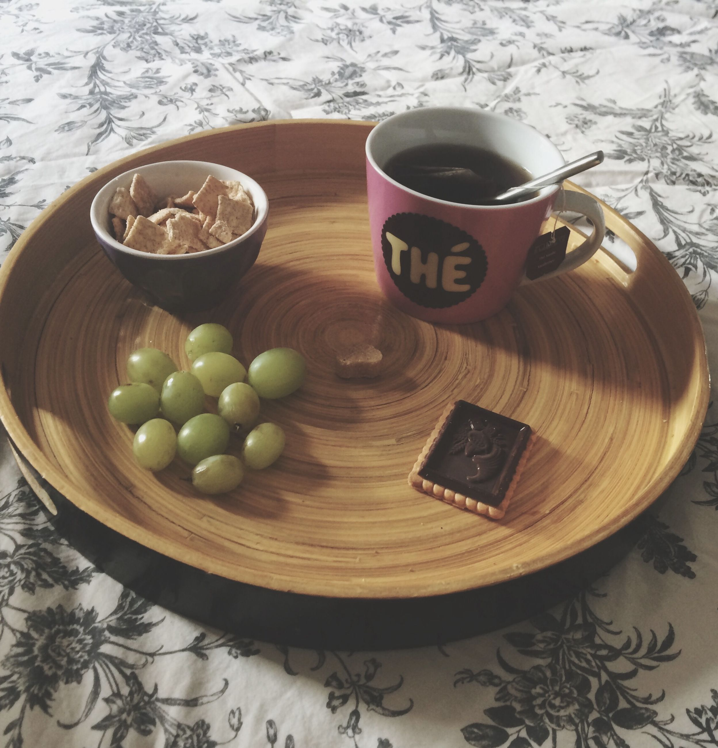 food and drink, table, freshness, food, healthy eating, still life, drink, indoors, fruit, refreshment, coffee cup, bowl, high angle view, wood - material, coffee - drink, no people, directly above, container, cup, grape