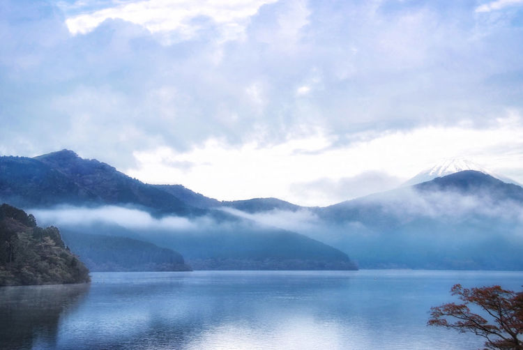 Hakone, Japan Mountain Scenics - Nature Water Beauty In Nature Sky Tranquility Tranquil Scene Cloud - Sky Lake Mountain Range Nature No People Reflection Non-urban Scene Fog Idyllic #japan #hakone #ashi