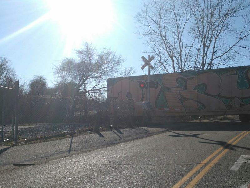 Transportation Mode Of Transport Land Vehicle Train - Vehicle No People Tree Red Light Bare Tree Graffiti & Streetart Railart Outdoors Photography Outside Photography No Filter, No Edit, Just Photography Sun Sunbeams Bright Blue Sky And Clouds Tree Branches Use Your Imagination And Looklook