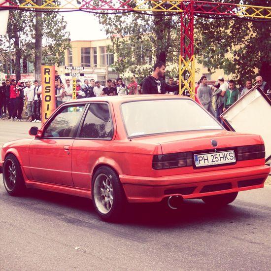 BMW E30 Red Bigass Exhaust Dragracing