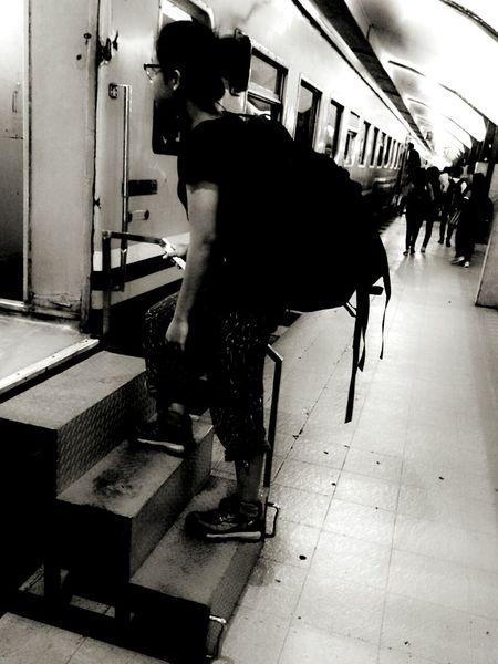 The optimistic. Travelingindonesia Bagpacker Train Station Rush Black And White Collection  Edited EyeEm Jakarta Stadium Senen Gerbong