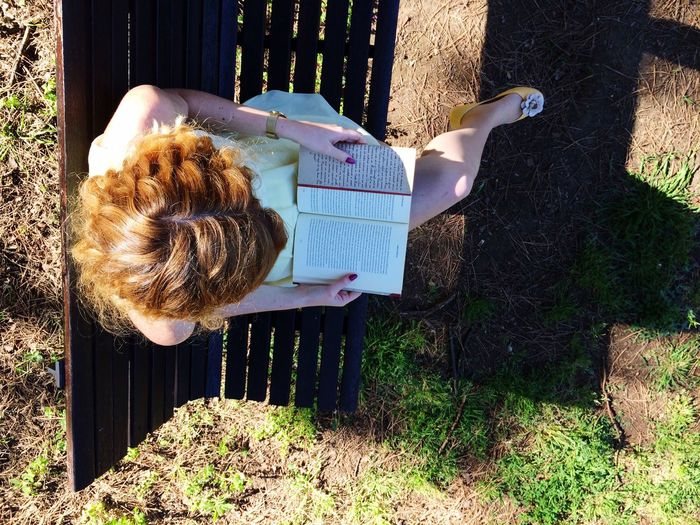 Directly above shot of woman reading book on bench in park