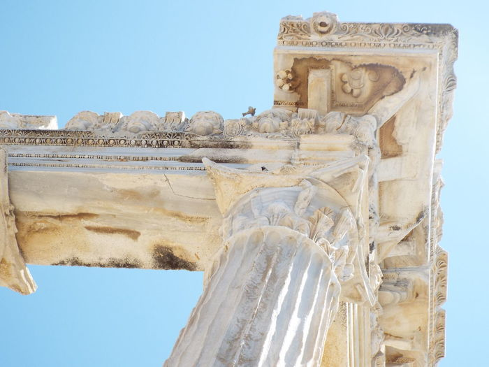 Historical Monuments Ancient Side, Turkey Pillars Ancient Architecture 💗 Side Ancient Ruins Blue Sky Close-up Looking Up Apollo Temple Miles Away