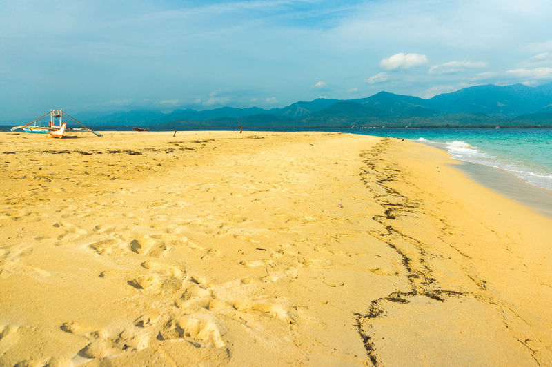 Clear Sand Mountain Philippines Malalison, Antique Beach Sand Peace Calm Water Sea Beach Sand Nautical Vessel Summer Tree Tropical Climate Water's Edge Blue Seascape Coast Horizon Over Water Ocean Coastline