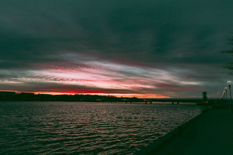 Sky Cloud - Sky Water Sunset Beauty In Nature Scenics - Nature Tranquil Scene Sea Tranquility No People Nature Dramatic Sky Architecture Outdoors Waterfront Idyllic Dusk EyeEm Nature Lover