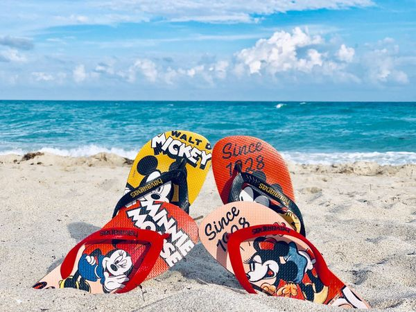 Slippers on the Miami Beach Slippers Man And Woman Miami Beach Special Edition Mickey Mouse Minnie Mouse Disney Flipflops Havaianas Sea Beach Land Horizon Over Water Water Sky Horizon Sand Cloud - Sky No People Day