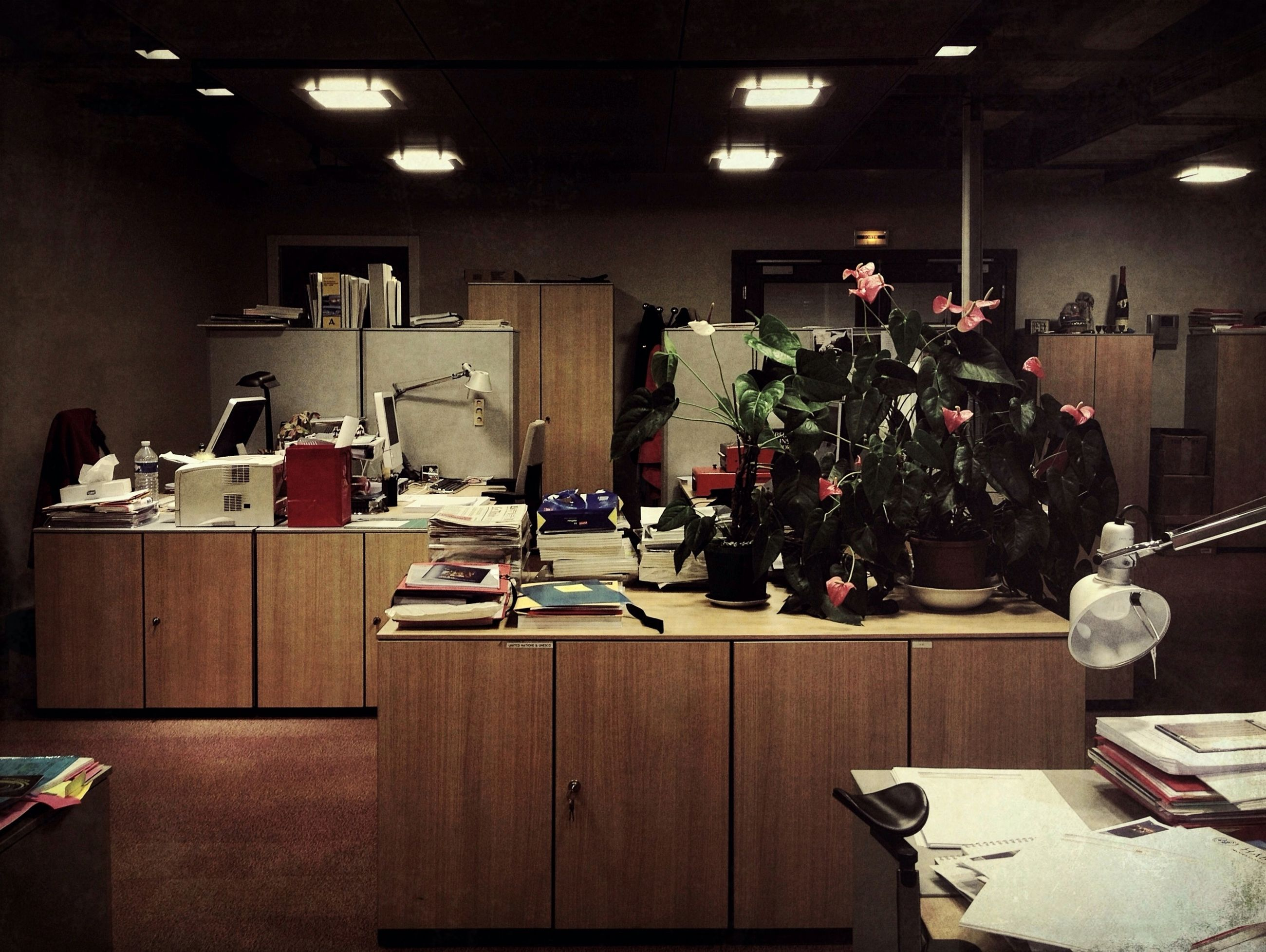 indoors, table, chair, high angle view, built structure, architecture, men, illuminated, large group of objects, night, restaurant, arrangement, lighting equipment, variation, absence, person, hanging, choice