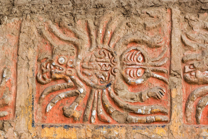 Closeup of a an ancient mural of a spider in the Huaca de la Luna in Trujillo, Peru Archeology Architecture Clay Culture Day Detail Details Fresco Frescoes Historic Historical Building History Huaca De La Luna Moche No People Peru Peruvian Pyramid Ruin Ruins Temple Tourism Travel Travel Destinations Trujillo