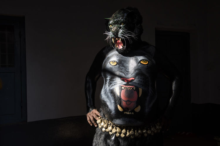 During Pulikali Festival in Kerala. Adult Art And Craft Body Painting Culture Day Figurine  Human Representation Kerala Mask - Disguise Onam One Person Only Men Panther People Pulikali Religion Ritual Sculpture Statue Thrissur Tiger Welcome To Black The Week On EyeEm Art Is Everywhere The Portraitist - 2017 EyeEm Awards The Portraitist - 2017 EyeEm Awards Capture Tomorrow Capture Tomorrow