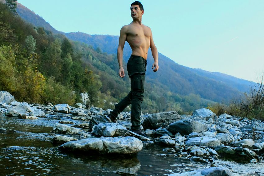 This Is Masculinity Vitality One Person Landscape Young Adult Mountain Rock - Object Sport Adventure Nature Outdoors Dancing River Scrivia Portrait Portraits Of EyeEm Portrait Photography Nakedmen Nakedbody Chest Torso Adam  Adam
