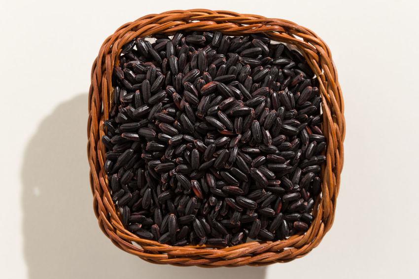 Basket Black Color Black Rice Close-up Day Food Food And Drink Freshness Healthy Eating Indoors  No People Studio Shot White Background