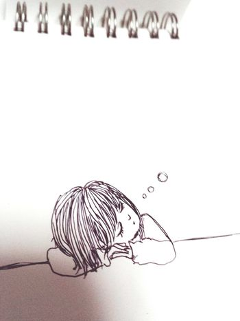 女の子 Girl イラスト Illustration ペン Sleeping 眠る 寝たい。