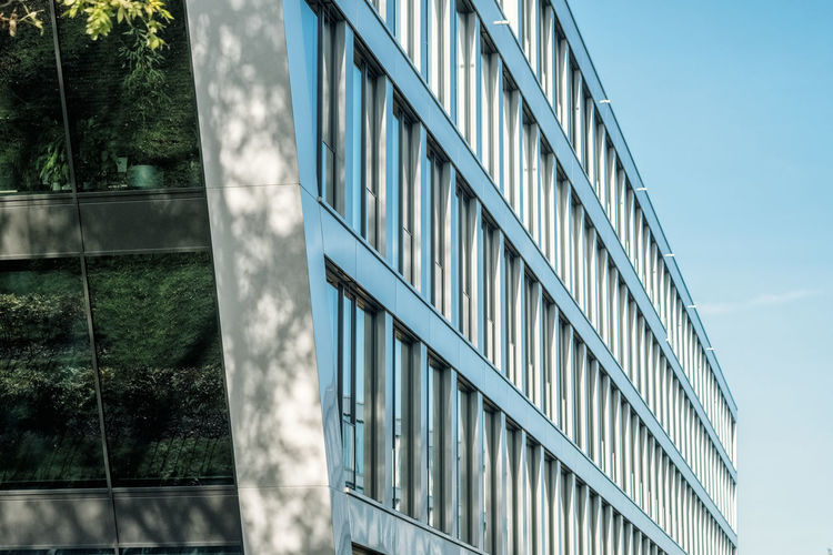Architecture Building Building Exterior Built Structure City Day Glass Glass - Material Low Angle View Modern Nature No People Office Office Building Exterior Outdoors Pattern Reflection Sky Skyscraper Sunlight Tree Window