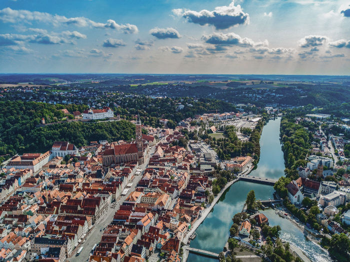 High angle view of landshut against sky