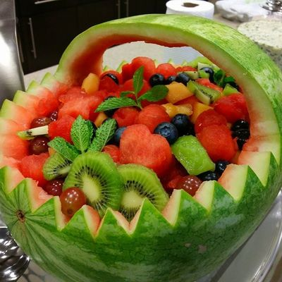 Ddcatering Carved Watermelon and fruit salad