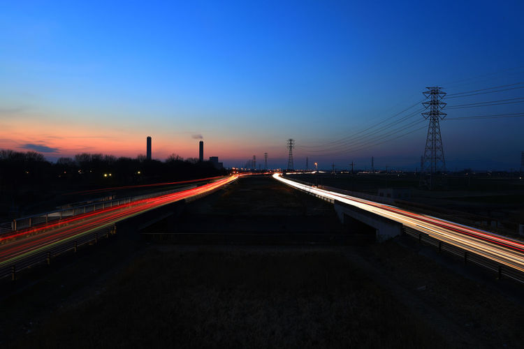 Japan Photography Discoverjapan Japan Nightphotography Hello World Tadaa Community Clear Sky Illuminated Road Politics And Government Sunset Steel Long Exposure Light Trail My Best Photo 17.62°