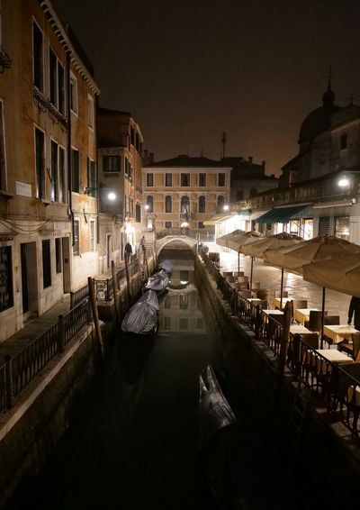 Venezia Italy Canal Boat Night Lights City Cityscape History Architecture Sky Built Structure