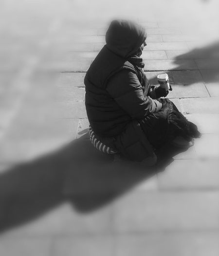 Streetphotography Beggar Blackandwhite Hello World Thuglife Poorpeople Outdoors Day Phoneography Money Cold Temperature People Of The World