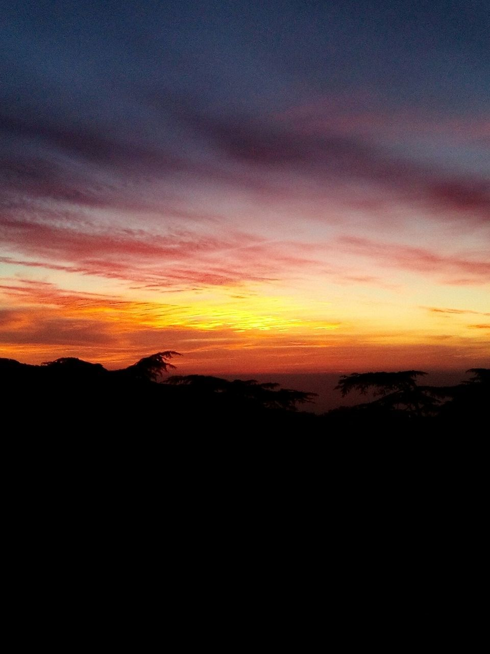 sunset, silhouette, beauty in nature, nature, tranquil scene, scenics, landscape, tranquility, sky, no people, outdoors