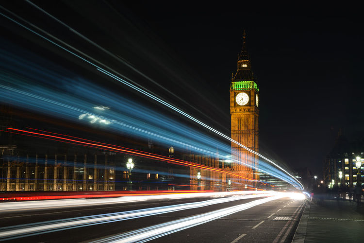 Light Trails On Road By Big Ben At Night