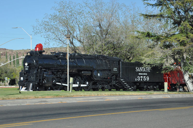 Santa Fe Train Blue Sky Day Long Vehicle No People Old Train Outdoors Road Transportation Tree