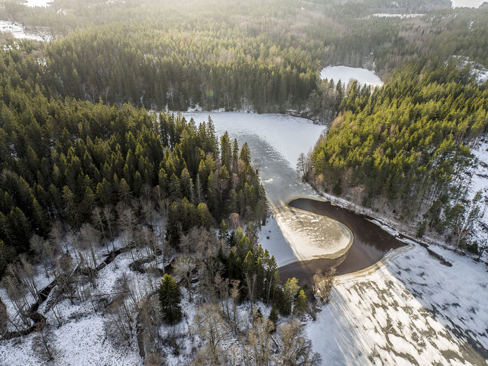 Aerial Shot Huddinge Ice Sweden Aerial View Beauty In Nature Day Dronephotography Forest High Angle View Lake Nature No People Outdoors River Scenics Snow Sunshine Sweden Nature Tranquility Tree Water Waterfall Winter
