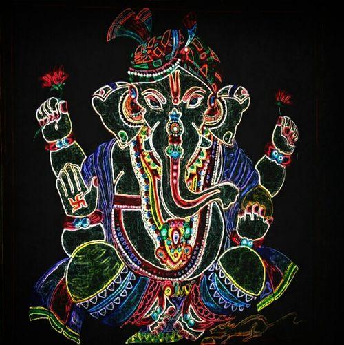 Ganesh Bhagwan ki Jai. -painted by Hansa & Alpana