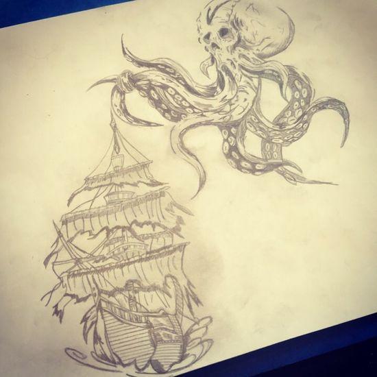 Kraken Drawing Draw Kraken Tattoo Ink