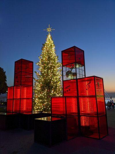 Illuminated christmas tree against clear sky