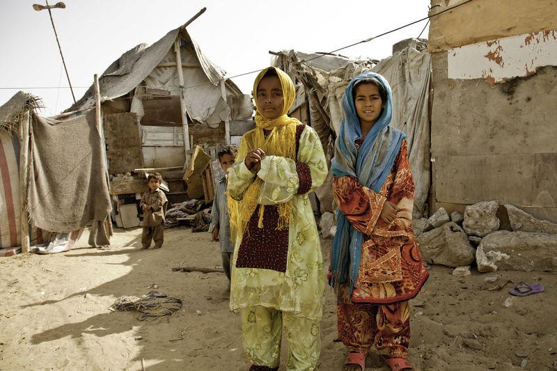 Portrait of girls and boys at slum