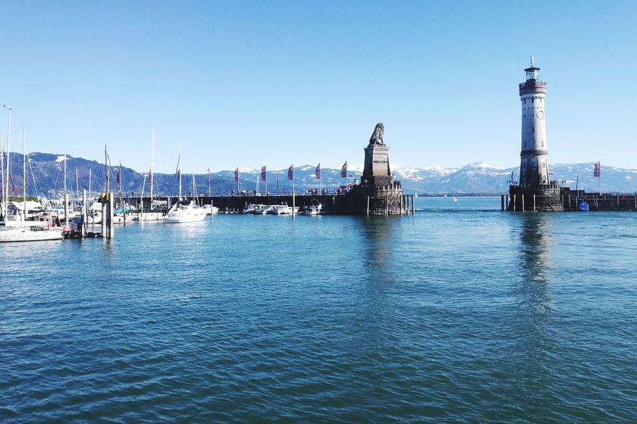 Travel Destinations Architecture Outdoors Building Exterior No People Tranquility Day Water City Sky Harbor Clear Sky Cityscape Scenics Vacations Urban Skyline Sea Skyscraper Nautical Vessel Lindau Bodensee Water_collection Backgrounds