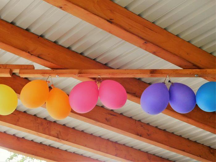 High angle view of multi colored balloons