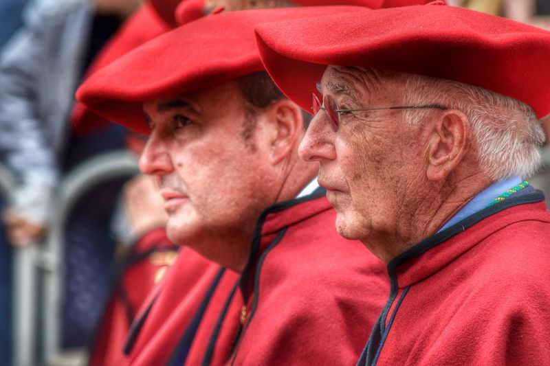 Cofrades. Red Real People Outdoors Men Day Adult People Portrait Face Profile Brother Wine Red Beret Beret Red Popular Olite Navarra Wine Party Old Man