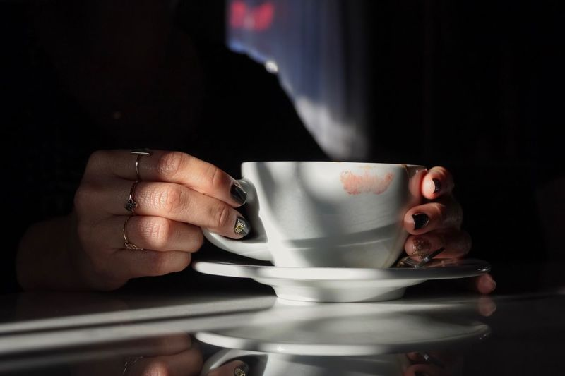 Still Life Shadows & Lights Ring Lipstick Cup Drink Coffee Cup Human Hand Hand Mug Food And Drink Coffee Real People Refreshment Indoors  Coffee - Drink Holding Capture Tomorrow A New Perspective On Life Moments Of Happiness My Best Photo 17.62°