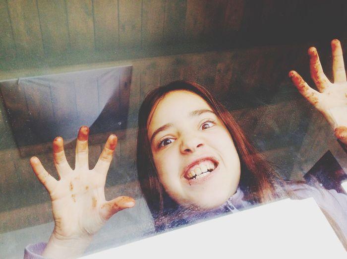 Grimacing Teenager Enjoying Life Girls