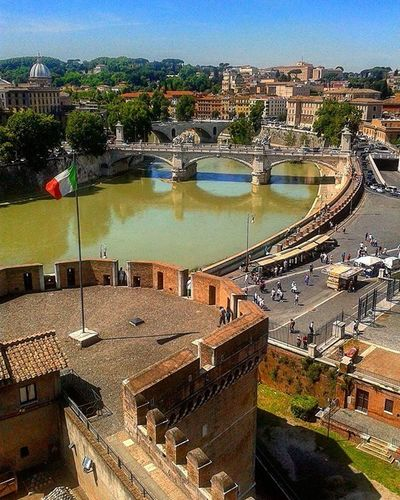 View from Castel Sant'Angelo up to Gianicolo Hill in Rome EternalCity Rome Meetrome Castelsantangelo Italien Rom Lavieenrome Buongiornoroma