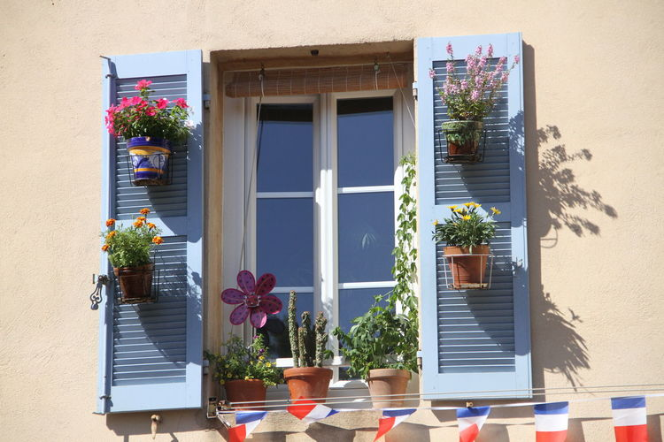 Window with flowerpots Exterior Flower Pot French Flag Front Or Back Yard Glass - Material Plant Potted Plant Window