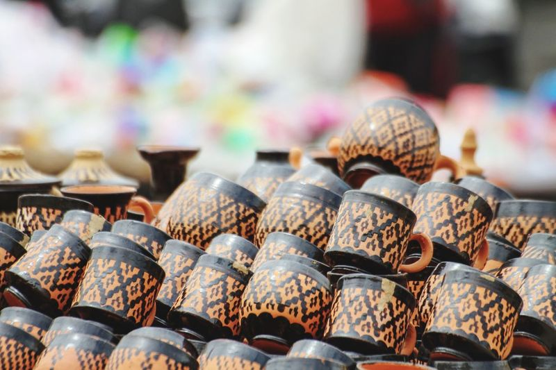 Close-Up Of Cups For Sale In Market