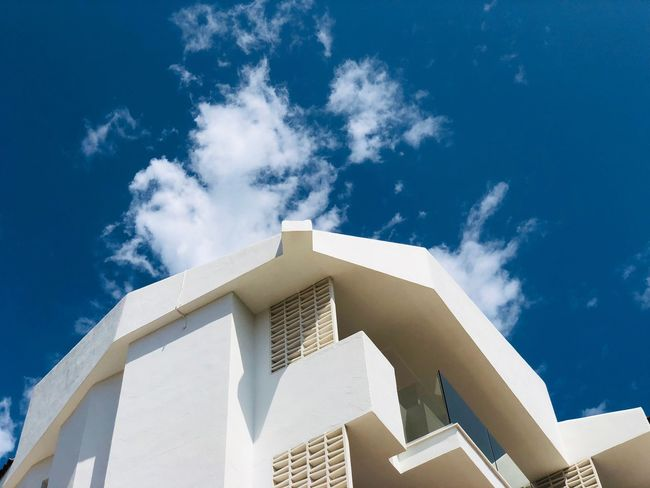 Mallorca EyeEm Selects Built Structure Sky Architecture Low Angle View Building Exterior Cloud - Sky Blue Building Nature Day No People Sunlight Outdoors Staircase White Color City Travel Destinations Tower Steps And Staircases Travel