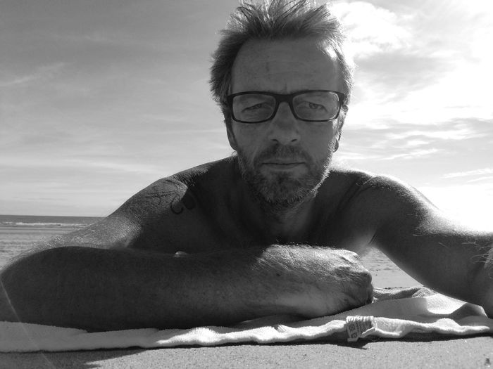 at the end of the day after work, i took my clothes of in Noordwijk at sea... Nakedhuman Nature_collection Nature Photography Naturelovers Naturephotography Relaxing Relaxation Nice View Sunnyday☀️ Scenics Netherlands Black And White Selfie ✌ Sea Portrait Men Beach Shirtless Tangled Hair Headshot Eyeglasses  Mature Men Sky Shore Sand Horizon Over Water Sand Dune FootPrint Calm Sandy Beach